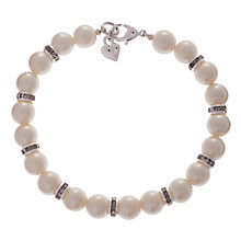 Buy Carolee Faux Pearl Glass Crystal Rondelle Bead Bracelet, White Online at johnlewis.com