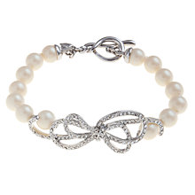 Buy Carolee Faux Pearl Glass Crystal Bow Bracelet, White Online at johnlewis.com