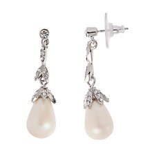 Buy Carolee Linear Faux Pearl and Glass Teardrop Earrings, White Online at johnlewis.com