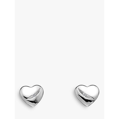 Buy Hot Diamonds Micro Diamond Heart Stud Earrings, Silver Online at johnlewis.com