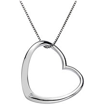 Buy Hot Diamonds Large Open Heart Diamond Pendant, Silver Online at johnlewis.com