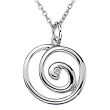 Buy Hot Diamonds Large Eternity Spiral Diamond Pendant, Silver Online at johnlewis.com