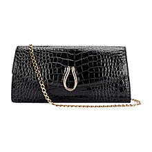 Buy Aspinal of London Eaton Patent Leather Clutch Handbag, Black Croc Online at johnlewis.com