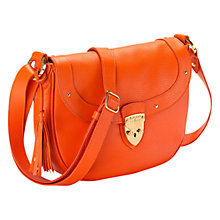 Buy Aspinal of London Portabello Leather Saddle Handbag, Orange Online at johnlewis.com