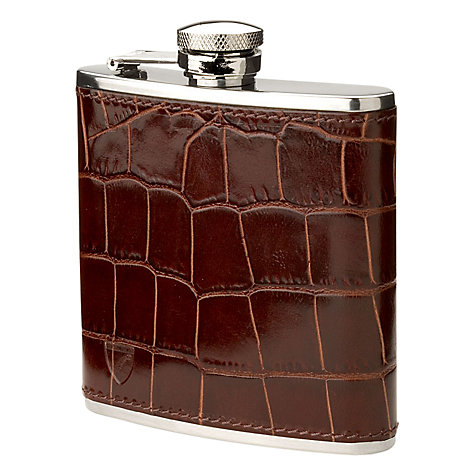 Buy Aspinal of London Leather Croc Stainless Steel Hip Flask, Amazon Brown Online at johnlewis.com