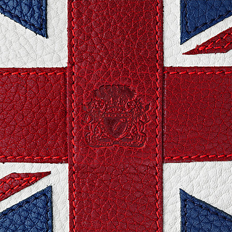 Buy Aspinal of London Leather Union Jack Stainless Steel Hip Flask, Multi Online at johnlewis.com