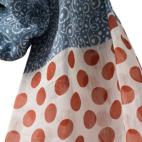 Buy East Salermo Swirl Spot Scarf, Indigo Online at johnlewis.com
