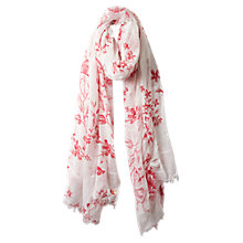 Buy East Sketch Rose Scarf, White Online at johnlewis.com