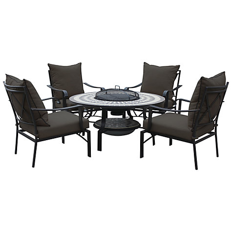 Buy Leisuregrow Casablanca Outdoor 4 Seater Dining Set with Firepit Online at johnlewis.com