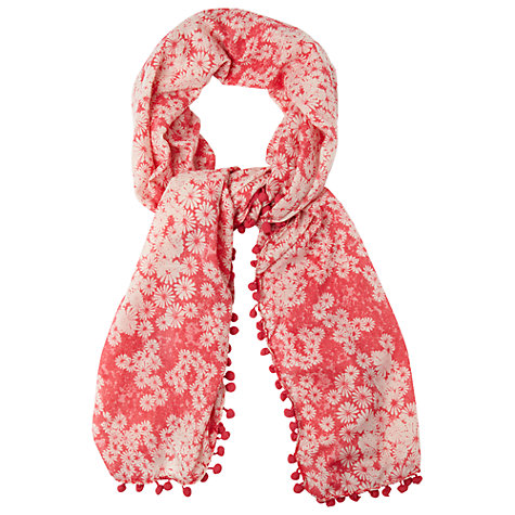Buy Phase Eight Daisy Pom Pom Scarf, Raspberry Online at johnlewis.com