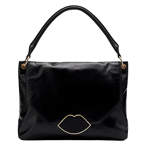 Buy Lulu Guinness Nicola Leather Medium Shoulder Handbag, Black Online at johnlewis.com