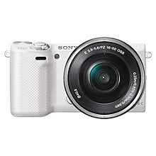 "Buy Sony NEX-5RL Compact System Camera with 16-50mm PZ Lens, 1080p, 16.1MP, Wi-Fi, 3"" Touchscreen, White Online at johnlewis.com"