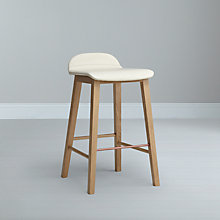 Buy Bethan Gray for John Lewis Noah Leather Upholstered Bar Stool, Cream Online at johnlewis.com