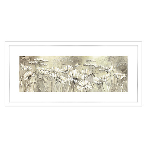 Buy Catherine Stephenson - Neutral White Poppy Framed Print, 49 x 104cm Online at johnlewis.com