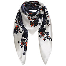 Buy Jigsaw Mini Spot & Flower Print Scarf, Navy Online at johnlewis.com