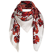 Buy Jigsaw Mini Spot & Flower Print Scarf, Red Online at johnlewis.com