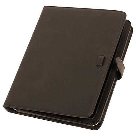 Buy Mulberry Adjustable Leather Sleeve for 1st, 2nd, 3rd & 4th Generation iPad, Chocolate Online at johnlewis.com