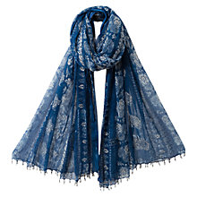 Buy East Jodhpur Printed Scarf, Blue Online at johnlewis.com