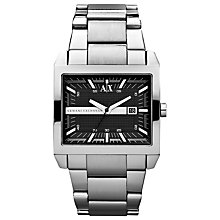 Buy Armani Exchange Men's Steel Bracelet Rectangular Watch Online at johnlewis.com
