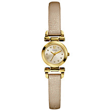 Buy Guess W0125L4 Women's Petite Leather Strap Watch, Cream / Gold Online at johnlewis.com