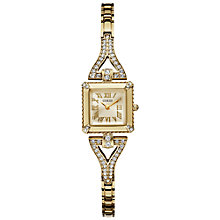 Buy Guess W0137L2 Women's Diamante Strap Square Watch, Gold Online at johnlewis.com