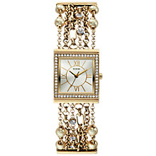 Buy Guess W0140L2 Women's Jewellery Strap Square Dial Watch, Gold Online at johnlewis.com