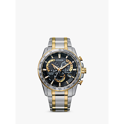 Citizen AT4004 52E Mens Radio Controlled Eco Drive Chronograph Two Tone Bracelet Strap Watch SilverGold