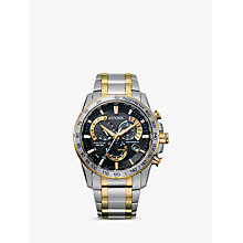 Buy Citizen AT4004-52E Men's Radio Controlled Eco-Drive Chronograph, Silver / Gold Online at johnlewis.com