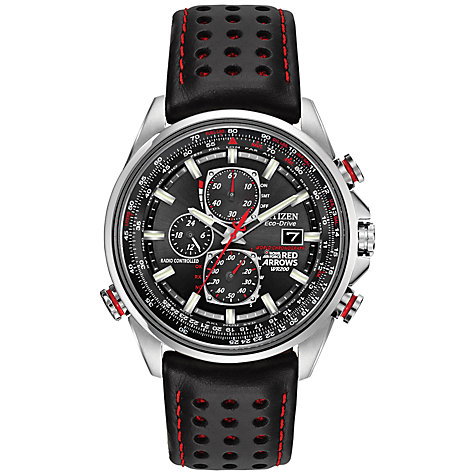 Buy Citizen AT8060-09E Men's Red Arrows Atomic Time World Chronograph Leather Strap Watch, Black Online at johnlewis.com