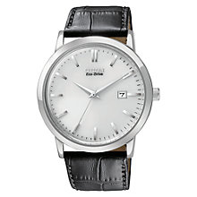 Buy Citizen BM7190-05A Men's Vintage Eco-Drive Leather Strap Watch, Black / Silver Online at johnlewis.com