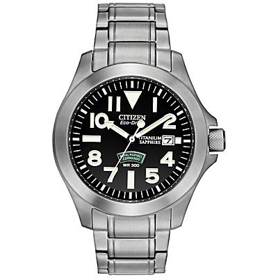 Citizen BN011057E Mens Royal Marines Commando Titanium Watch Silver  Black
