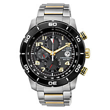 Buy Citizen CA0469-59E Men's Primo Eco-Drive Chronograph Watch, Silver / Gold Online at johnlewis.com