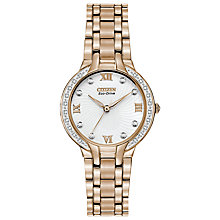 Buy Citizen EM0123-50A Women's Bella Eco-Drive Crystal Set Watch, Rose Gold Online at johnlewis.com