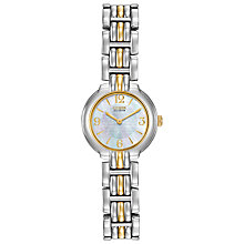 Buy Citizen EW8694-52D Women's Round Mother of Pearl Eco-Drive Watch, Silver / Gold Online at johnlewis.com