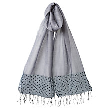 Buy East Organza Bead Border Scarf, Light Steel Online at johnlewis.com