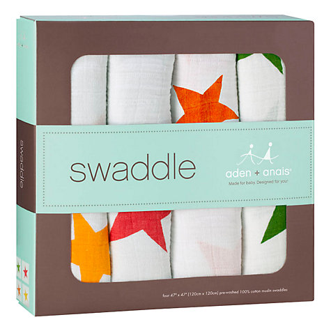 Buy Aden + Anais Swaddle Blankets, Pack of 4, Super Stars Online at johnlewis.com