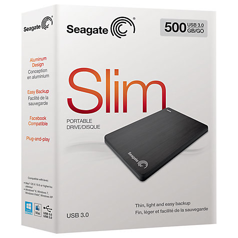 Buy Seagate Slim Portable Hard Drive, USB 3.0, 500GB Online at johnlewis.com