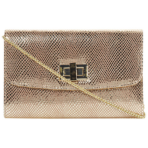 Buy Dune Beebee Metallic Reptile Leather Clutch Bag, Gold Online at johnlewis.com