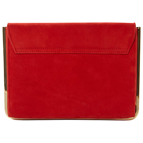 Buy Dune Braizen Suede Metal Detail Structured Clutch Bag, Red Online at johnlewis.com