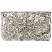 Buy Dune Elower Beaded Pattern Clutch Bag, Silver Online at johnlewis.com