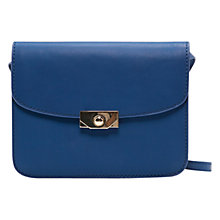 Buy Mango Meatllic Clasp Shoulder Handbag, Bluish Online at johnlewis.com