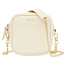 Buy Reiss Elouisa Cube Leather Handbag, Cream Online at johnlewis.com