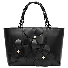 Buy Reiss Angelo Leather Flower Tote Handbag, Black Online at johnlewis.com