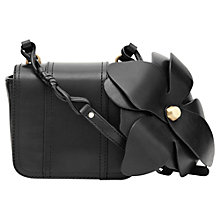 Buy Reiss Rosario Leather Flower Shoulder Handbag, Black Online at johnlewis.com