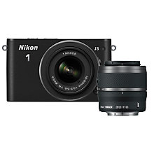 "Buy Nikon 1 J3 Compact System Camera with 10-30mm & 30-110mm Lens, HD 1080p, 14.2MP, 3"" LCD Screen with 16GB + 8GB Memory Card Online at johnlewis.com"