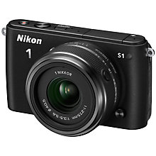 "Buy Nikon 1 S1 Compact System Camera with 11-27.5mm Lens, HD 1080p, 10.1MP, 3"" LCD Screen, Black with 16GB + 8GB Memory Card Online at johnlewis.com"