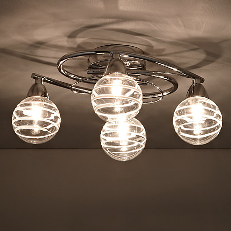 Buy John Lewis Michel Stripe Glass Semi-flush Light, 4 Arm Online at johnlewis.com