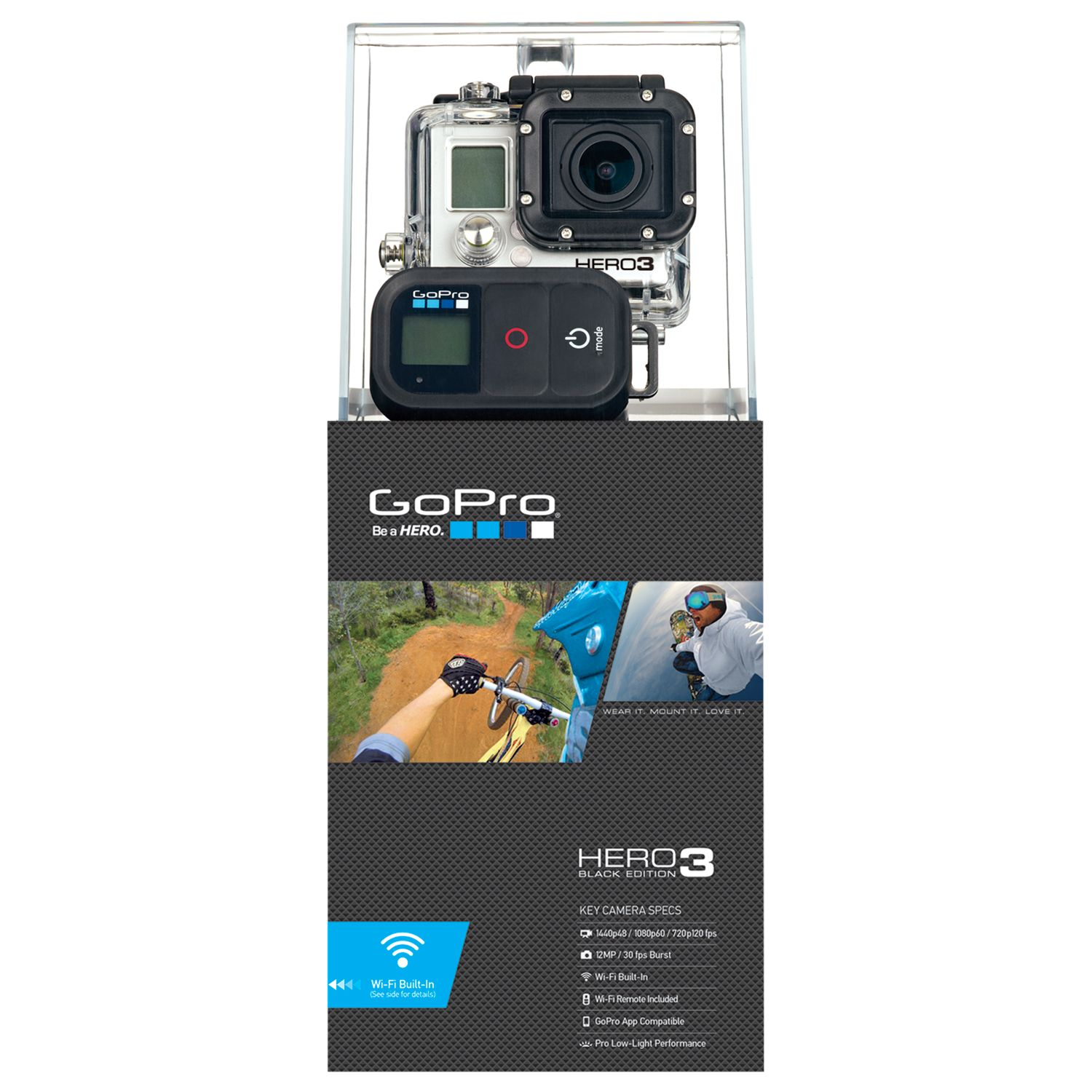 Gopro Hero3: Black Edition Camcorder, Hd 1080p, 12mp, Wi-fi With Wireless Remote, Black