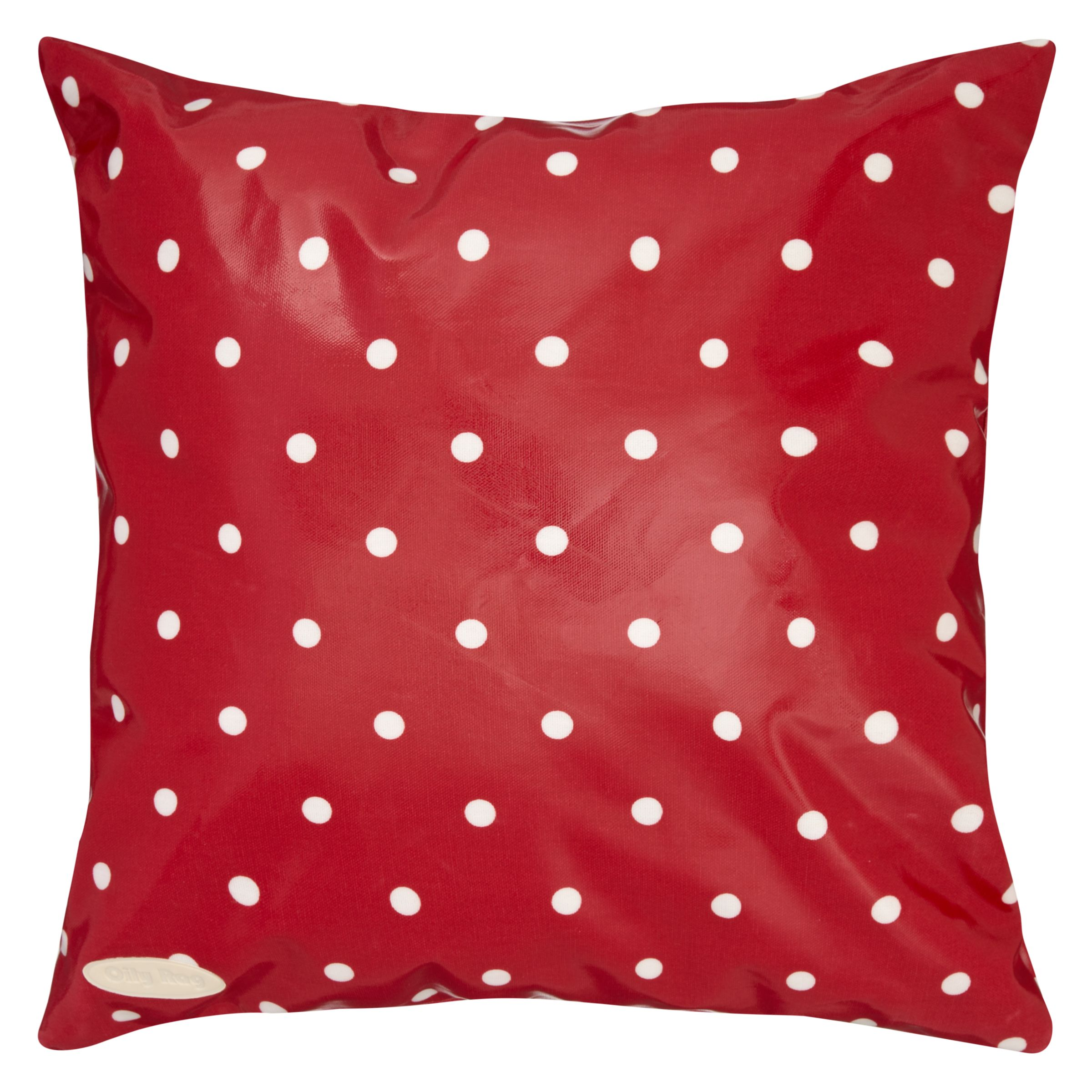 Oily Rag Spotty Outdoor Cushion, 40 x 40cm, Red