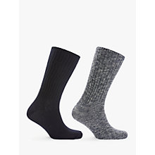 Buy Calvin Klein Cotton Rich Ribbed Socks, Pack of 2, Navy Online at johnlewis.com